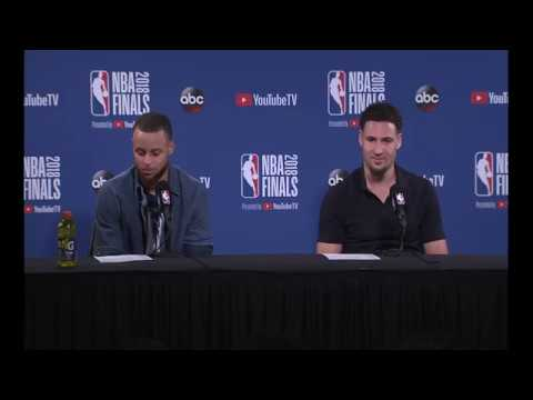 Steph Curry and Klay Thompson   Game 2 Finals Press Conference