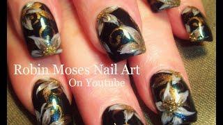 Elegant Pearl White On Blue Flower Nails   Diy Nail Art Design Tutorial