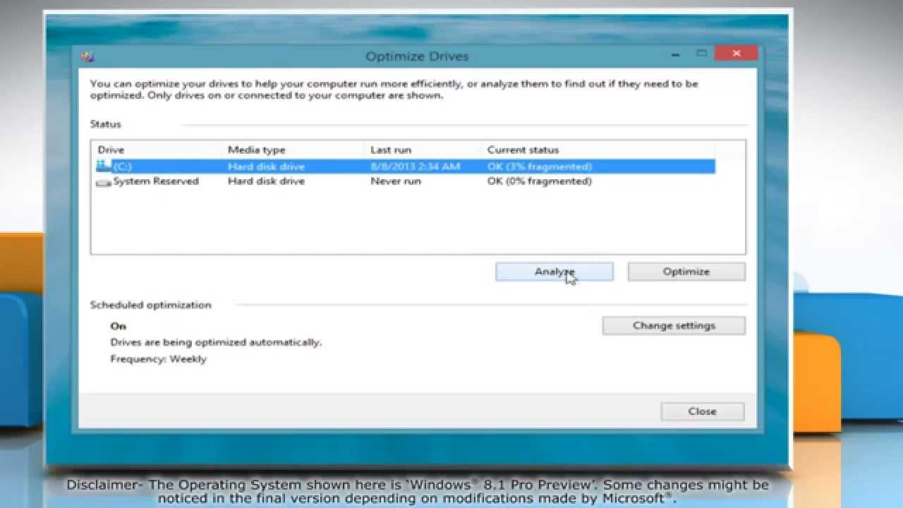 How to Use Disk Defragmenter in Windows® 8.1 Pro Preview - YouTube