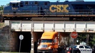 Truck Drives Under Bridge + Gets Stuck