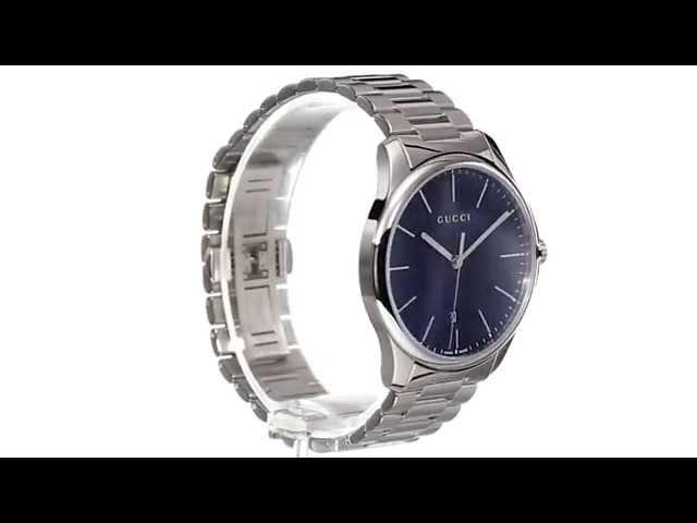 2218216a9fe Gucci - G-Timeless Large Blue Dial Steel Bracelet SKU 8492460 - YouTube