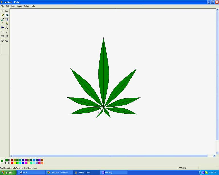 How To Draw A Marijuana Leaf In Microsoft Paint Youtube