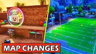 ALL *NEW* MAP CHANGES! FOOTBALL FIELD + CYBERCAFE! FORTNITE UPDATE! (HUNTING PARTY) SECRET CHANGES!