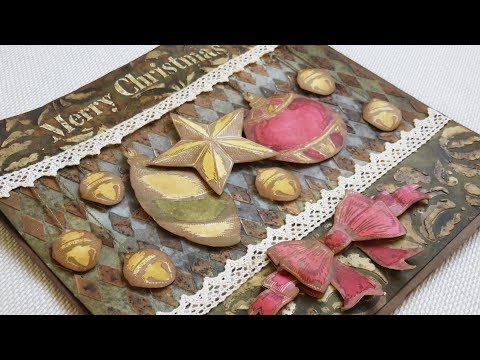 Christmas Vintage Panel - 3D ornaments, infusions & grunge paste - Mixed media fun