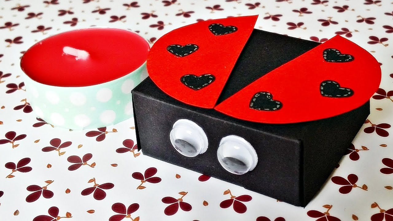 basteln marienk fer teelicht verpackung ladybug candle. Black Bedroom Furniture Sets. Home Design Ideas