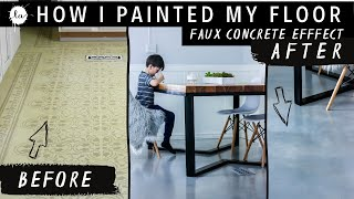 DIY Painted Floor | IDEA | Laminate Floor Painted to LOOK like Polished CONCRETE | Industrial decor