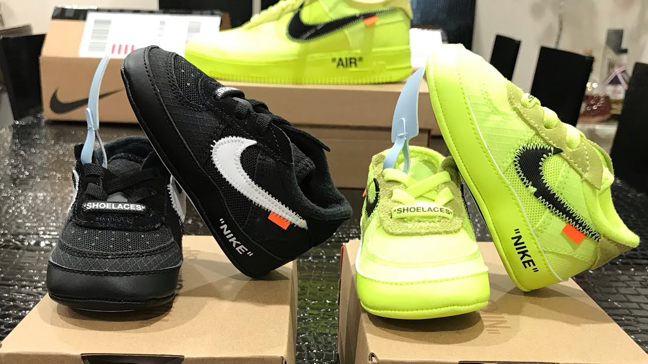 58693f121c8f6b Off White Nike s for Babies! Infant Off White Air Force 1 Black   Volt  Review + Adult Comparison