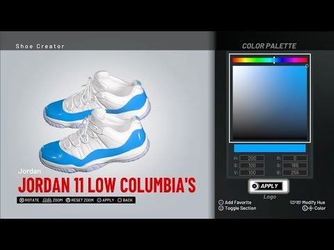 NBA 2K19 shoe Creator - Jordan 11 Low Columbia's🔌🔥
