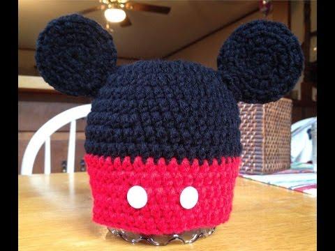 โครเชต์หมวกมิกกี้เม้าส์ อีซ้าย Mickey Mouse Hat Crochet, Left Handed.
