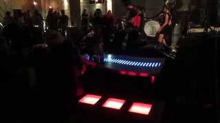 Concrete LED RGB lighting bench, terrazzo LED table and live music
