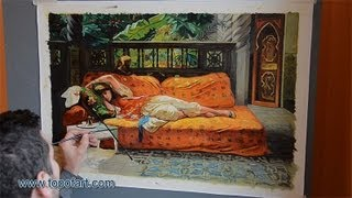 Art Reproduction (Bridgman - The Siesta, Afternoon in Dreams) Hand-Painted Oil Painting