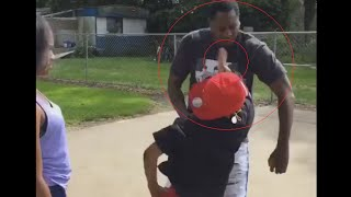 son backhand slaps dad in the face