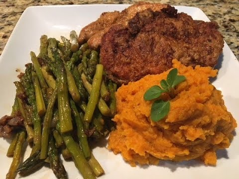 How To Cook Pork Chops, Mashed Sweet Potatoes And Asparugus