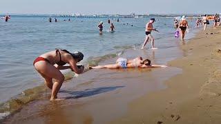 Анапа 1 июля Пляж и море отдыхающих Прогулка по курорту Сезон в Краснодарском крае