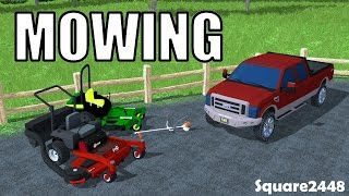 Farming Simulator 15 - Mowing With 72 Inch Mowers - Weed Eater - Exmark - John Deere