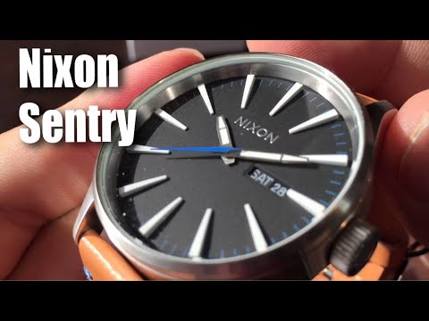 Nixon A105 Sentry 42mm Stainless Steel Leather Quartz Movement Watch