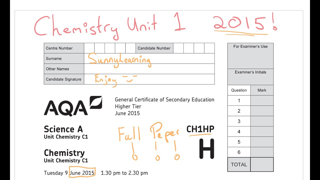 2015 Chemistry Unit 1 Full Paper Ch1hp Aqa Gcse Science  Youtube