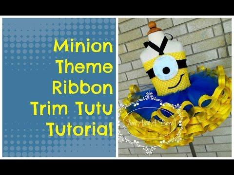 How To Make Minion Theme Ribbon Trim Tutu By Just Add Bow