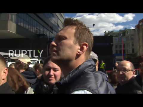 Russia: Opposition leader Navalny attends anti-redevelopment rally, Moscow