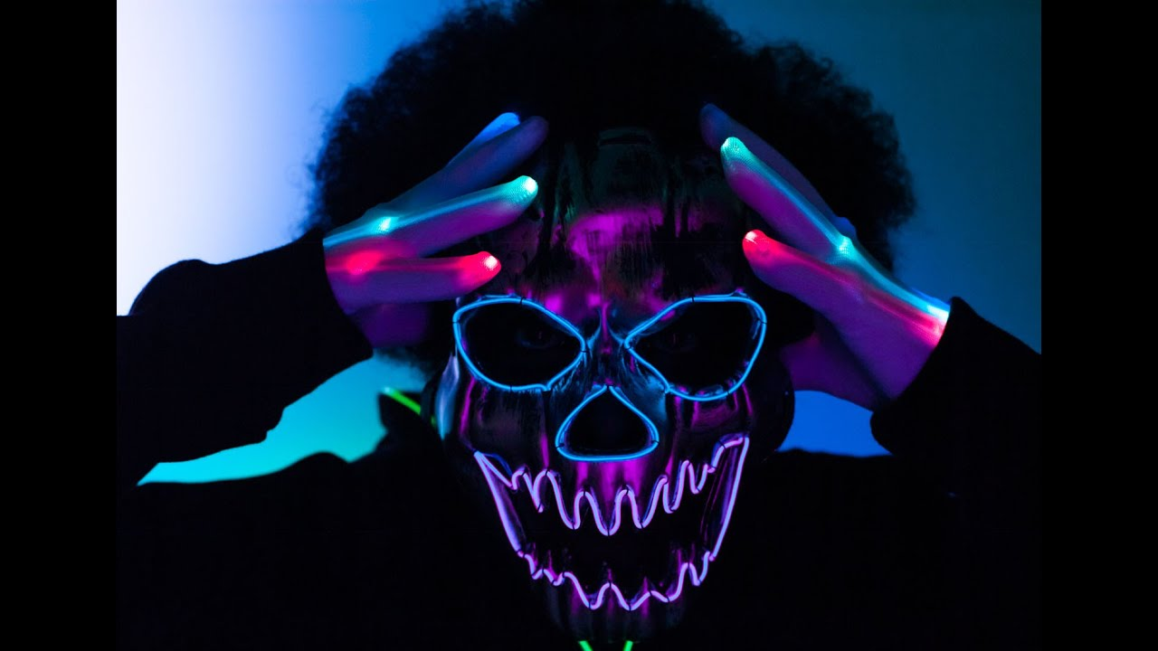 Halloween Light Up LED Mask, EL Wire Mask, LED Gloves, Neon ...