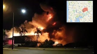 Bunnings fire still burning after forty minute explosion