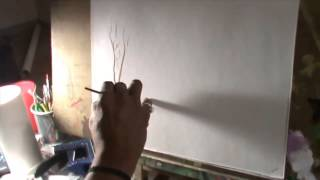 How to make the tree with the sea sponge painting