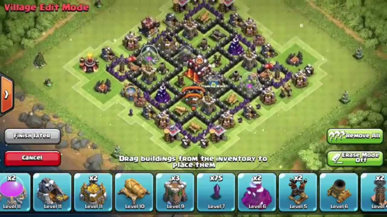 Clash Of Clans Best Epic New Th7 Hybrid Base Design Without