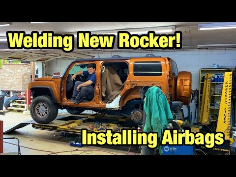 Welding New Rocker Section And Installing New Airbags On My Wrecked Hummer