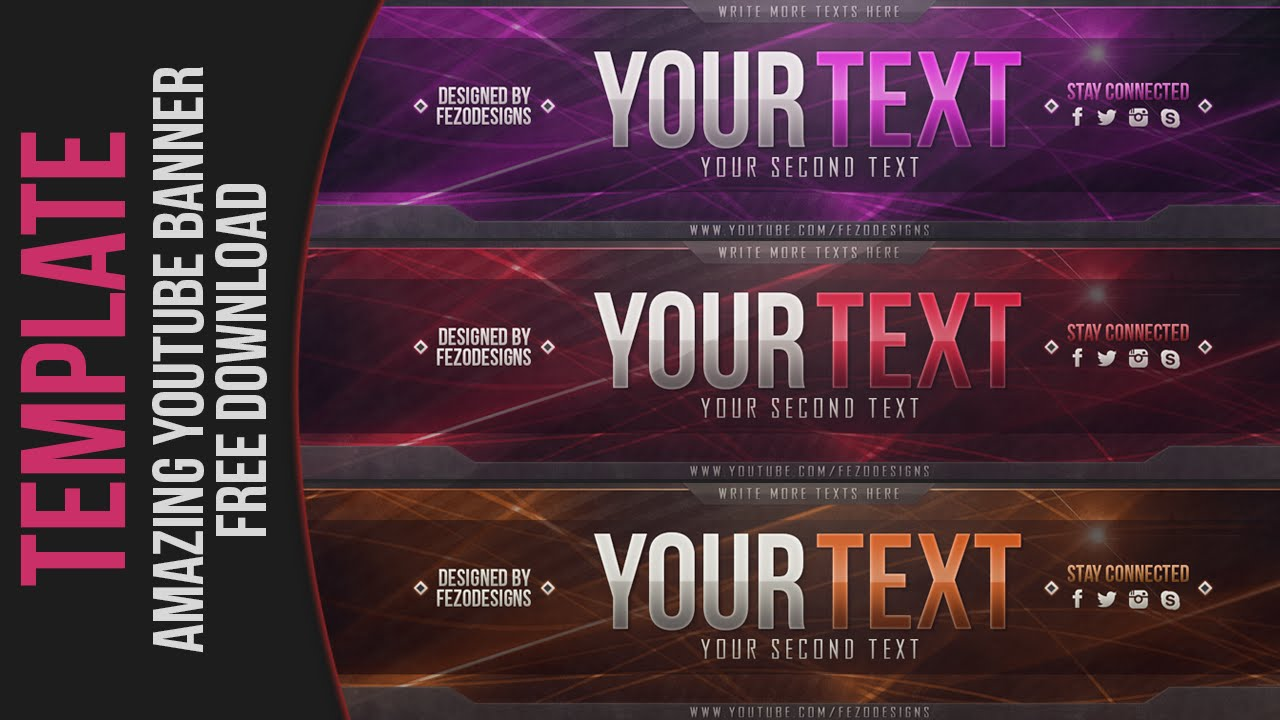 amazing 2d youtube banner template - free download - fezodesigns