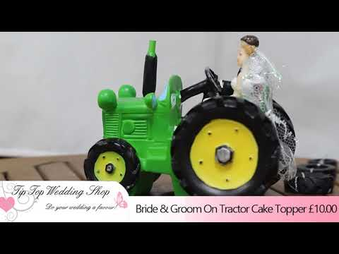 Bride & Groom On Tractor Cake Topper from Tip Top Wedding Shop - YouTube