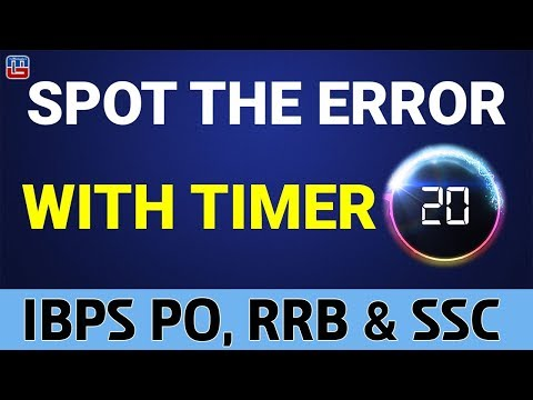 Spot The Error With Timer | English | IBPS PO | RRB | SSC