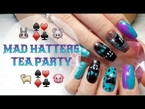 Acrylic Nails Mad Hatters Tea Party Nail Design Youtube