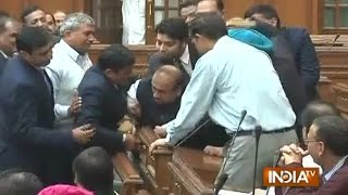 BJP MLA Vijendra Gupta Being Marshalled Out of Delhi Assembly