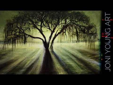 ACRYLIC PAINTING TUTORIAL 🎨 HOW TO PAINT A WEEPING WILLOW TREE / STEP BY STEP