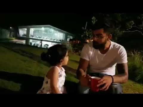 Virat kohli and ms dhoni's daughter ziba talking😍😍😍