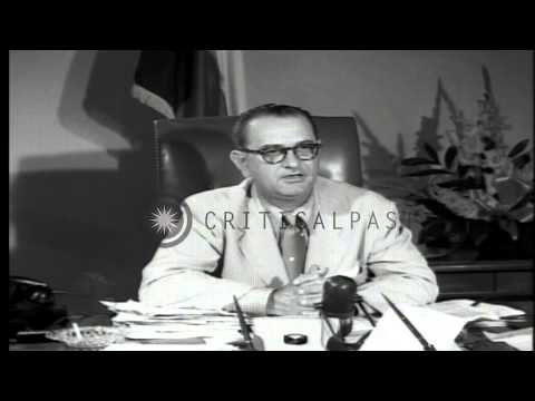 Texas Senator Lyndon B. Johnson speaks about industrial and agricultural growth i...HD Stock Footage
