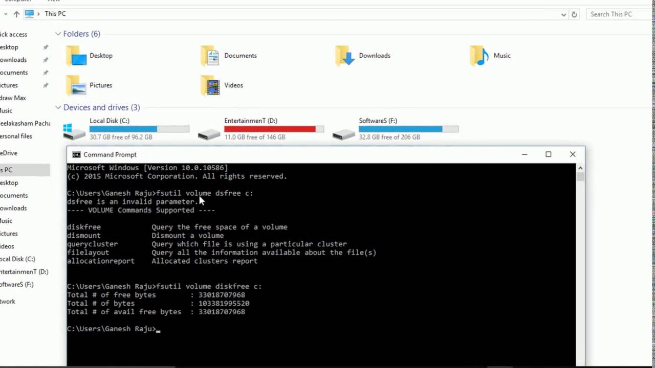How to find Free Disk Space using CMD on Windows OS? (DOS Commands)