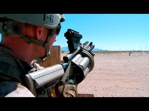 USMC Marksmanship Training - M-32 Grenade Launcher, Shotguns.