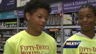 Teens cutting lawns for free receive gifts from Lowe