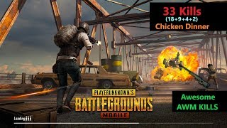 "[Hindi] PUBG Mobile | ""33 Kills"" in Squad Amazing Kills With AWM"