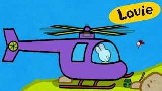 Helicopter - Louie draw me a helicopter | Learn to draw, cartoon for children
