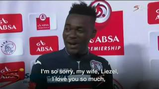 Footballer makes wife and 'girlfriend' speech blunder | BBC News