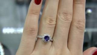 0.62 Carat Sapphire and Diamond Flower Halo Ring GR014