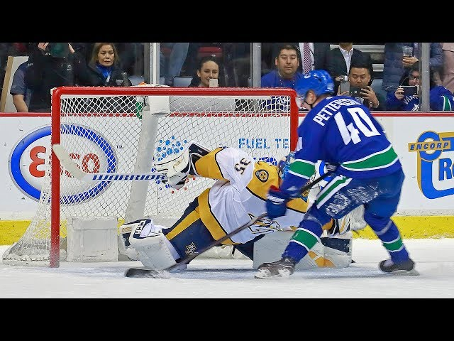 Elias Pettersson shows off filthy moves to score penalty shot on Rinne