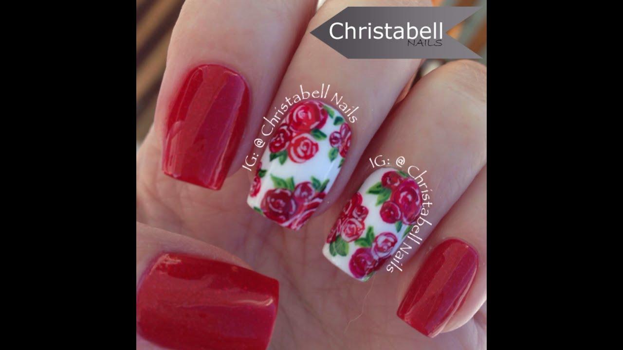 Christabellnails Christmas Floral Nail Art Tutorial Youtube