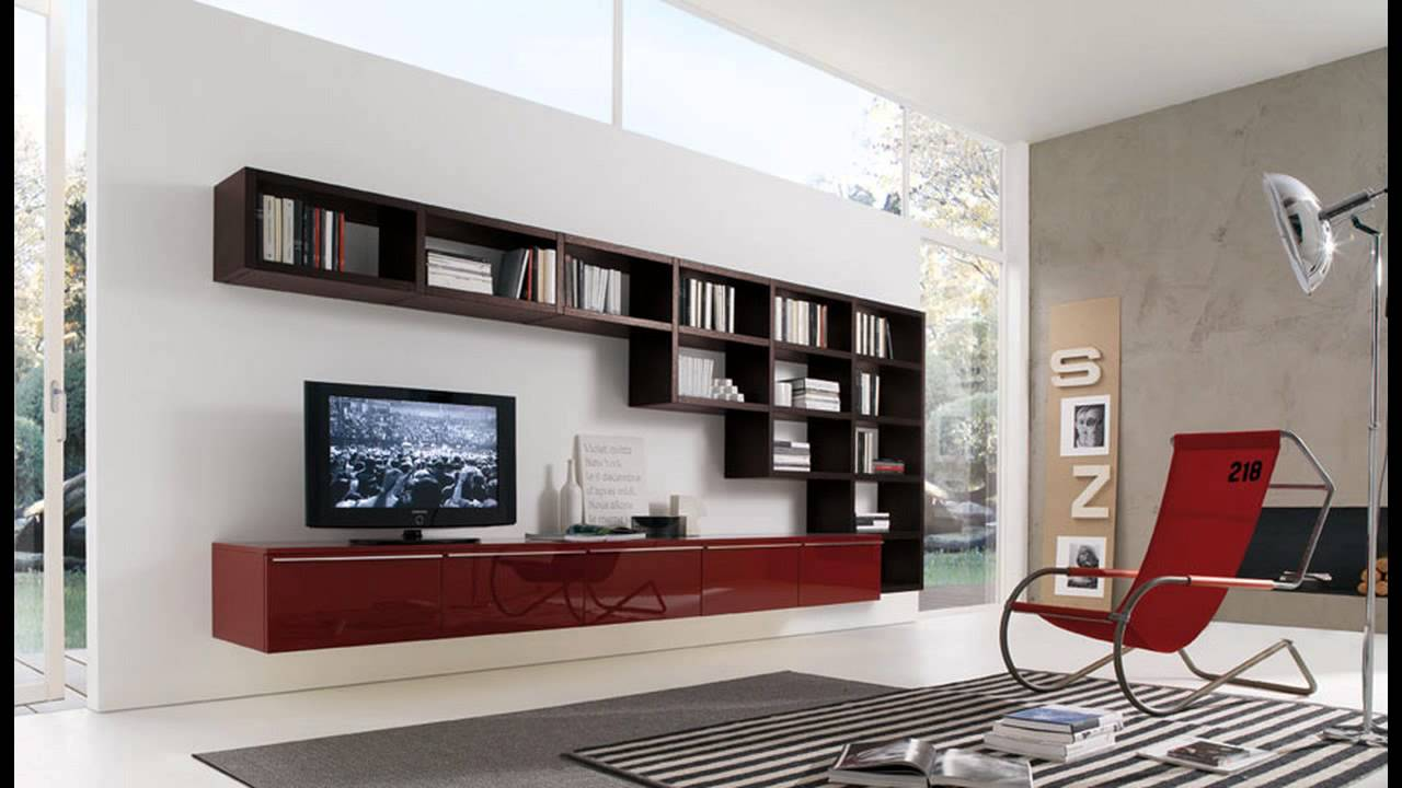 Superbe Modern Living Room Wall Units With Storage Inspiration   YouTube