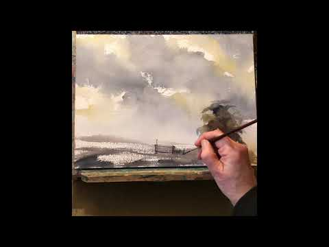 10 Minute Stormy Sky Watercolour Demonstration