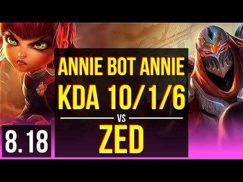 Annie Bot - ANNIE vs ZED (MID) | KDA 10/1/6, Godlike | NA Master | v8.18