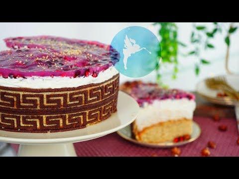 Granatapfel Nuss Torte Mit Dekobiskuit - Nuss-Sahne-Torte Tutorial - Kuchenfee