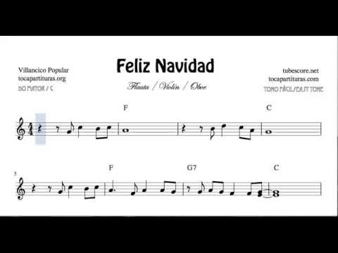 I Wanna Wish You a Merry Christmas Easy Sheet Music for Violin Flute and Oboe Feliz Navidad